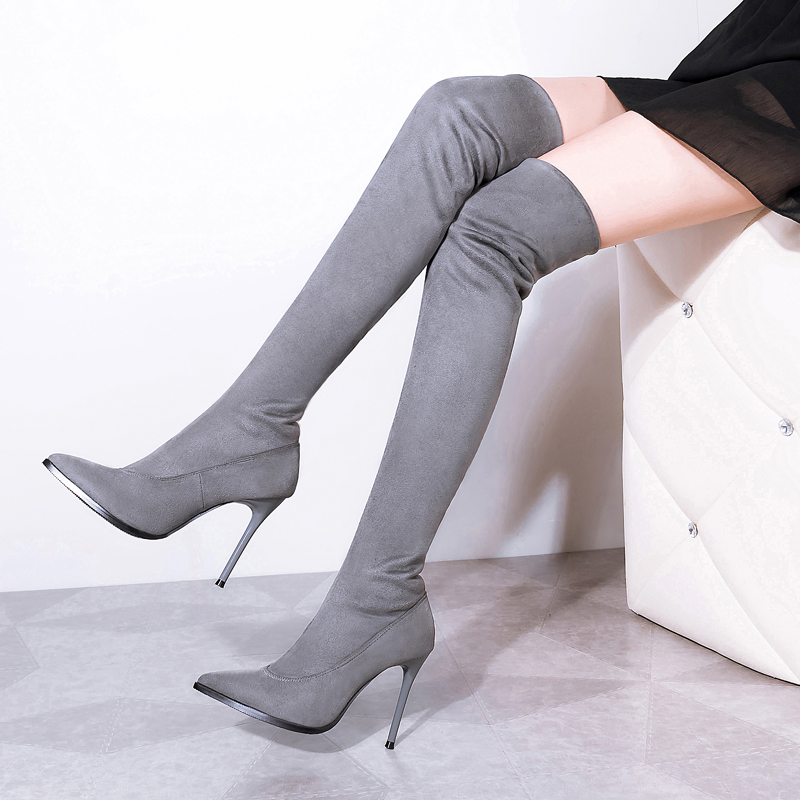 2017 European Solid Color Stretch Faux Suede Sexy High Boots   Fashion Over the Knee Boots High Heels Woman Shoes 4 Colour<br><br>Aliexpress