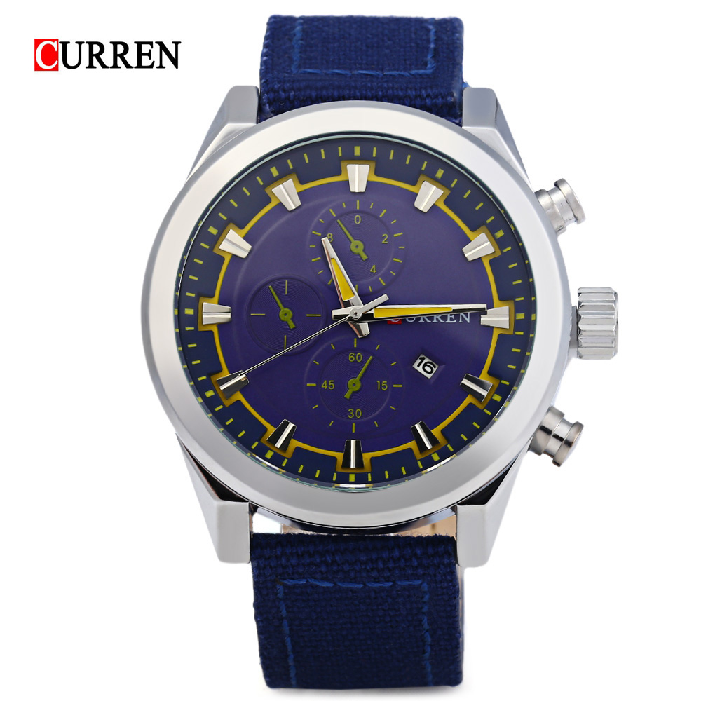 Curren Man Casual Quartz Watch 8196 Top Luxury Brand Small Sub-dials Decoration Canvas Leather Band Waterproof Wristwatch<br><br>Aliexpress
