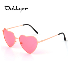 Dollger Heart Shaped Sunglasses Women Metal Reflective Mirror Lens Fashion Luxury Sun Glasses Brand Designer For Ladies s0396(China)