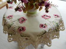 Elegant Design Polyester Satin Embroidery Floral Tablecloth Orange Flower Embroidered Table Topper Cloth Cover