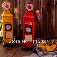 Min order$20(mixed items) ENGLAND Style gas station IRON Money Saving Box Painted Retro gas station house or shop decoration