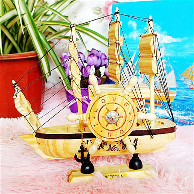 Simple Wooden Sailboat Ornaments Music Box Romantic Presents for Living Room Party Bedroom Retro Craft Decoration Smooth Sailing(China (Mainland))