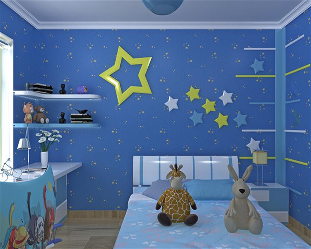 beibehang Cartoon environment luminous nonwovens wallpaper children room star boy girl bedroom background papel de parede tapety<br>