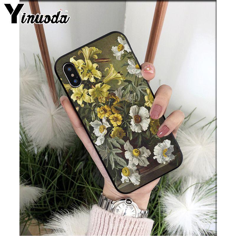 Yinuoda Classic Painting Flower Butterfly Vase Aesthetic Art Phone