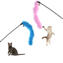 Turkey Feather Wand Stick For Cat Catcher Teaser Toy For Pet Kitten Jumping Train Aid Fun fast shipping Pink Blue color(China)