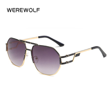 New Retro Square Metal Frame WEREWOLF Sunglasses Men Vintage Hip Hop Women Brand Luxury Designer Gozluk For Women Men bain(China)