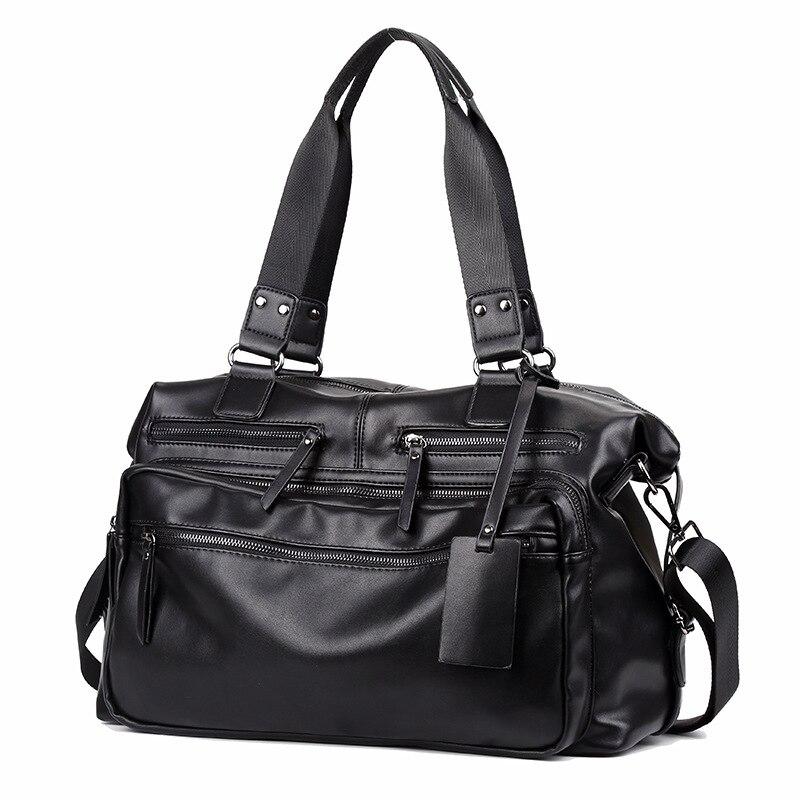 New Korea style PU leather mens messenger bag, large capacity, short travel bag,  fashion bag<br>