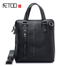 AETOO Fashion Korean version of the textured corrugated layer of leather men's business portable Messenger bag briefcase shoulde(China)