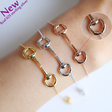 Genuine 100% 925 sterling silver Horse lover jewelry three color snaffle bit pendant silver women bracelet 2017 New korean(China)