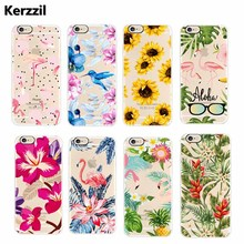 Kerzzil Transparent Soft Fruits Lips Plant Flowers Phone Case For iphone 7 6s 6 Plus Clear Flexible TPU Case Back Cover Capa