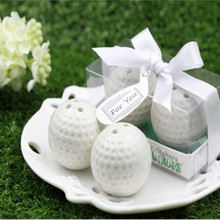 200pcs=100sets/Lot+Fashionable Design White Ceramic Golf Ball Salt and Pepper Shakers Unqiue Wedding Favors+FREE SHIPPING