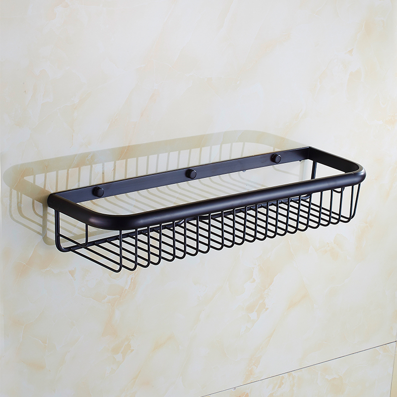 45cm Brass wall mounted bathroom shelves, Retro kitchen storage shelves baskets, Square antique copper shelf basket black<br>