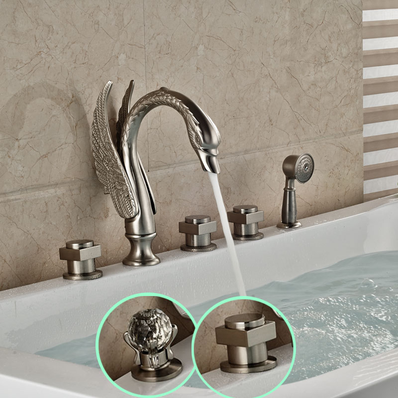Luxury Swan Shape Widespread Bathtub Mixer Faucet Deck Mount 5 Holes Brushed Nickel Tub Shower Faucet Set<br><br>Aliexpress