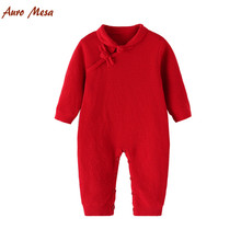 Buy New Spring Chinese Style Cheongsam Knitted Romper 100% Cotton Red Newborn baby Girl Jumpsuit for $16.20 in AliExpress store