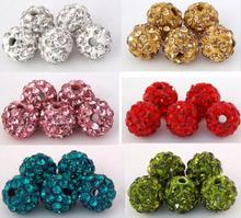 10mm 100pcs/lot factory price Mixed multi best Micro Pave CZ Disco Ball Beads Crystal Shamballa Bead Bracelet Neacklace Spacer