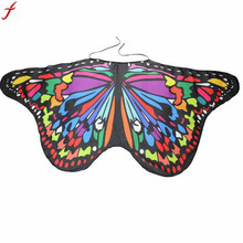 2017 Child Kids Butterfly Wing Bohemian Print Shawl Pashmina Costume Accessory For Boys Girls Scarf Bufandas(China)
