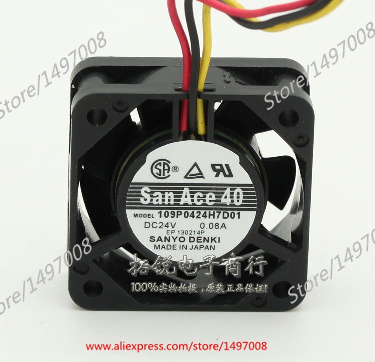 Free Shipping For Sanyo  109P0424H7D01  DC 24V 0.08A 3-wire 3-pin connector 40mm, 40x40x15mm Server Square fan<br>