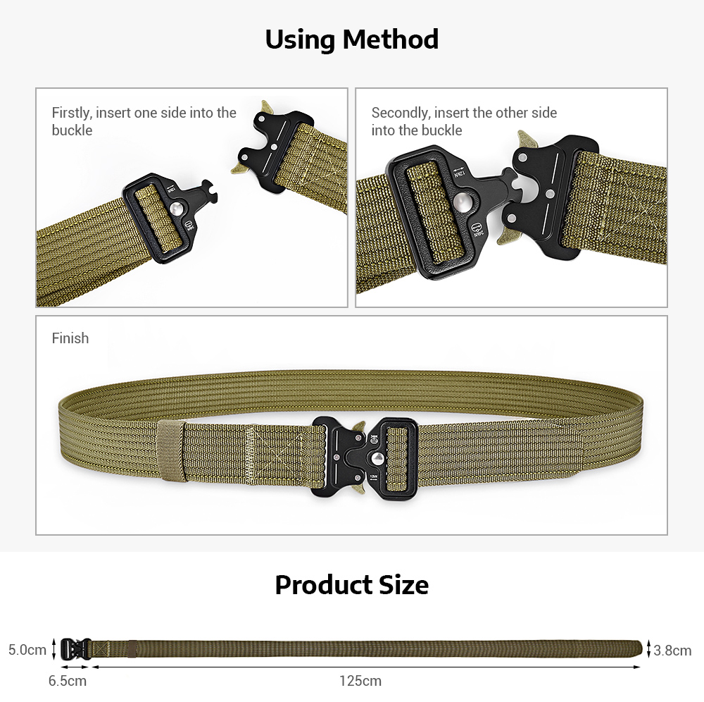 Men Military Tactical Belt Webbing Waist Strap with Quick Release Buckle
