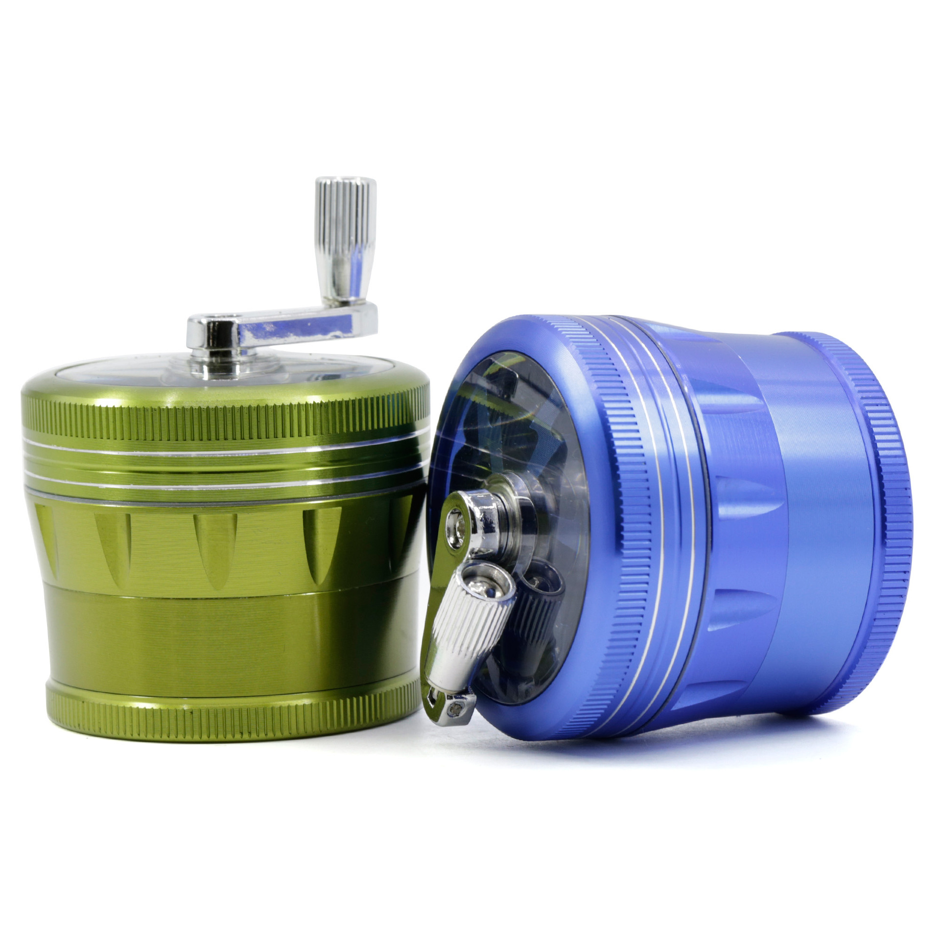 """Green Herb Grinder w// Handle Spice Crusher for Tobacco Hand Muller 2/"""" 4 Layers"""