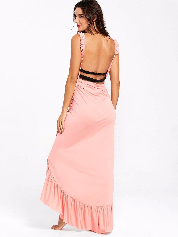 VESTLINDA Beach Dress 2018 Summer Long Flounce Wrap Dress Women Spaghetti Strap Maxi Dresses Robe Femme Sexy Vestidos De Festa 15