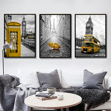 Nordic Style NEW DESIGN Wall Art Pictures And Prints Foreign Building Bus Umbrella Clock Home Decoration Fabric Canvas Painting