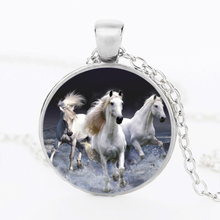 SUTEYI Unique Unicorn Picture Necklace Glass Cabochon Horse Pendant Animal Handmade Silver Color Chain Necklace Jewelry