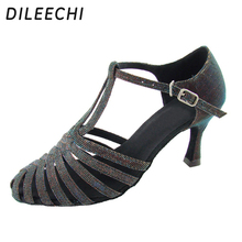 DILEECHI Autumn and Winter section Adult women's Latin dance shoes modern dual Dance Shoes Ballroom dancing shoes With T-Strap