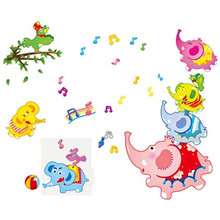Children favorite Baby Elephant Musical Note wall decals 3d vinyl stickers kids room bedroom nursery school cartoon wallpaper