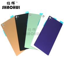 SHAOHUI A quanlity For Sony Xperia Z3 Back Glass Z3 L55 D6603 Back Cover Battery Door Cover Housing with sticker free shipping