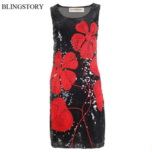 BLINGSTORY Vintage Sequin Paillette Mini Evening Party Embroidery Flower Summer Dresses Club Vestidos Dropshipping KR3017-1
