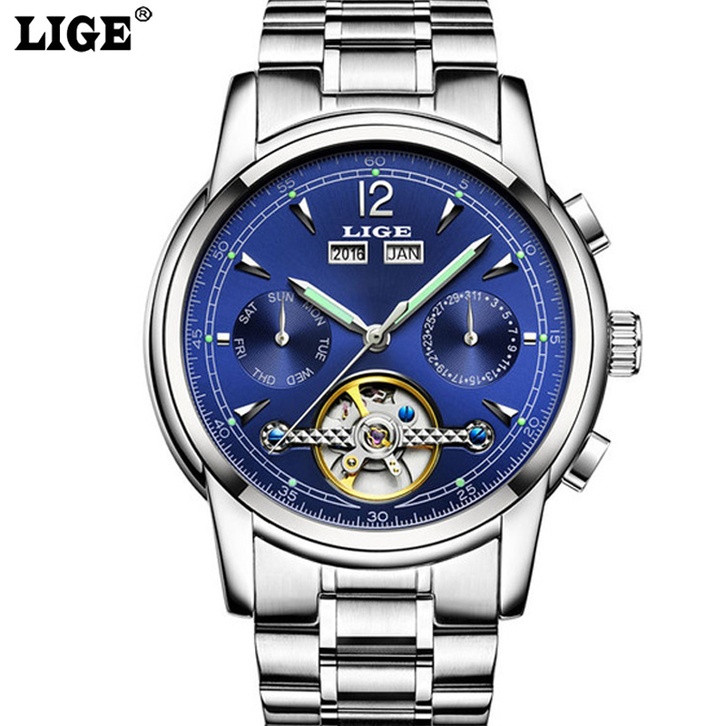 LIGE Tourbillon Mechanical Watch Mens Skeleton Calendar Month Automatic Watch Men Stainless Steel Waterproof relogio With Box<br>