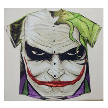 Real American Size joker  1 3D Sublimation Print Custom made Button up baseball jersey plus size