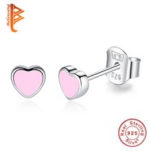 Elegant Authentic 925 Sterling Silver Pink Enamel Heart Stud Earrings Jewelry for women fashion Earring Party Gift(China)