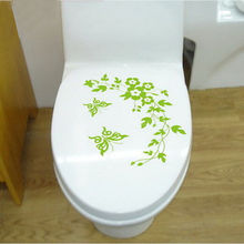 New Green Flower and Butterfly Pattern Toilet  Plane Wall Sticker Chinese Style