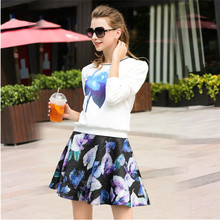 2017 New fashion 2 Piece Sets Women Skirt Top Spring Suits For Women Clothing Set Casual Floral Printed Tops Skirt Sets