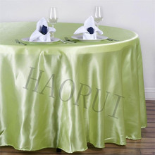 10pcs Customized Tea Green 108''Round Dining TableCloth Satin Table Cloths for Wedding Party Decoration Restaurant Free Shipping