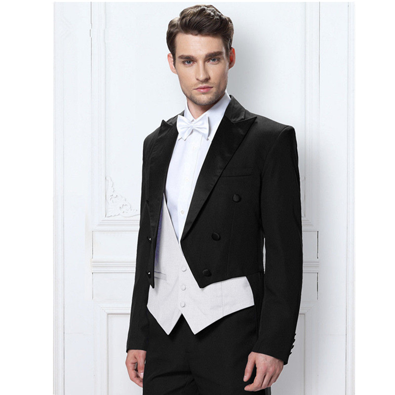 39.1 Fashion classic men\'s suit black lapel double-breasted men\'s tuxedo and prom dress (jacket + pants + vest) custom made