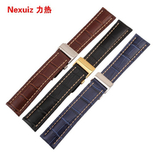 22mm Promotion Watch Straps  For brand Hour men Watches Bracelet  deployment clasp Blue cowhide leather Crocodile grain