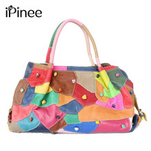 New Arrivals 2016 Genuine Leather Women Handbags Patchwork Cowhide Tote Bags Fashion Vintage Lady's Shoulder Bags(China)