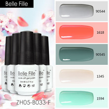 Belle Fille 8ml Nude Green Red Color Nail Gel Poliash Rainbow Colour Gelpolish Set Wedding Party Makeup Nails Art Decoration