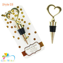 (1PC Only) Personalized Gold Heart Bottle Stopper Party & Wedding Favor for Anniversary Celebration Supplies