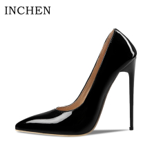 INCHEN Sexy Extreme High Thin Heels Ladies Pumps PU Leather Pointed Toe Shallow Pumps Wedding Shoes Women PLUS Size 35-47 P1707