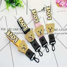 5Pcs LOVE Letter Bear Neck Necklace Strap Lanyard U Disk ID Work Card Mobile Cell Phone Chain Straps Keychain phone Hang Rope(China)