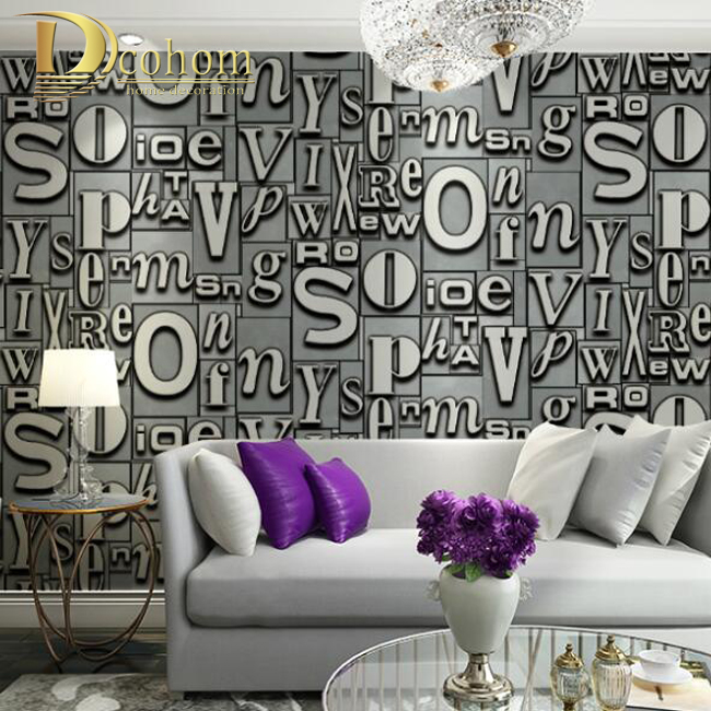 Fashion Embossed Flocking Letters Luxury Glitter Wall paper Bedroom Living room Backgrounds Modern Home 3D Wallpaper Rolls R640<br><br>Aliexpress