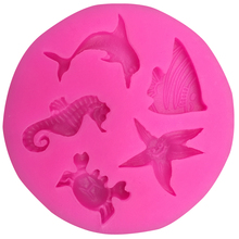 Free shipping Dolphins hippocampus starfish silicone mold chocolate fondant cake decoration Kitchen soap Tools F0104