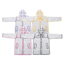 1 pc Classic PVC Transparent Raincoat Rain Belt Long With Coat Jacket Waterproof Rainwear women rainwear W5(China)