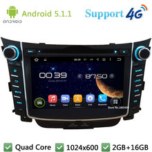 "Quad Core 7"" 1024*600 2Din Android 5.1.1 Car Multimedia DVD Player Radio BT FM DAB+ 3G/4G WIFI GPS Map For Hyundai I30 2011-2016"