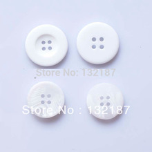 Wholesale plastic 4-hole chalk white buttons polyester buttons sewing coat buttons free shipping bt22(China)