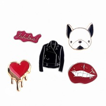 1Pc Sexy Lip Heart Letter Clothes Dog Badge Corsage Collar Metal Brooch Pins Women Jewelry #224651(China)