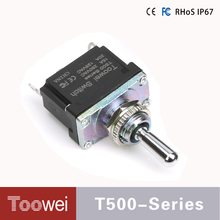 Factory supply T500 series on off toggle switch waterproof IP67 mini 2 pins U type solder terminals ON-OFF 2 pins 2 position